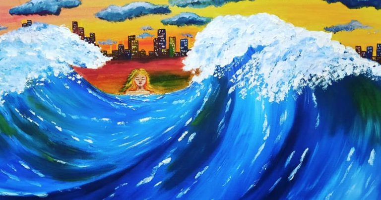 Art is the fifth wave of business - original painting by Kym Bennetts - Campbelltown Arthouse Inc - Wave Exhibition