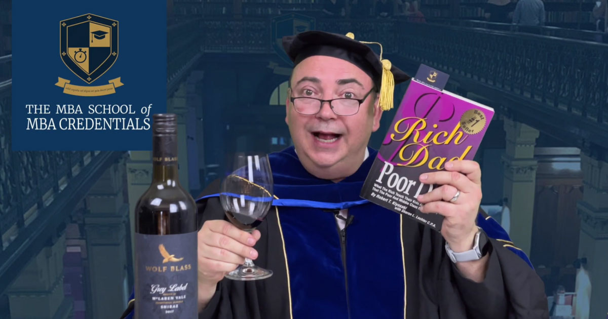 Rich Dad, Poor Dad by Robert Kiyosaki paired with Wolf Blass Grey Label Shiraz