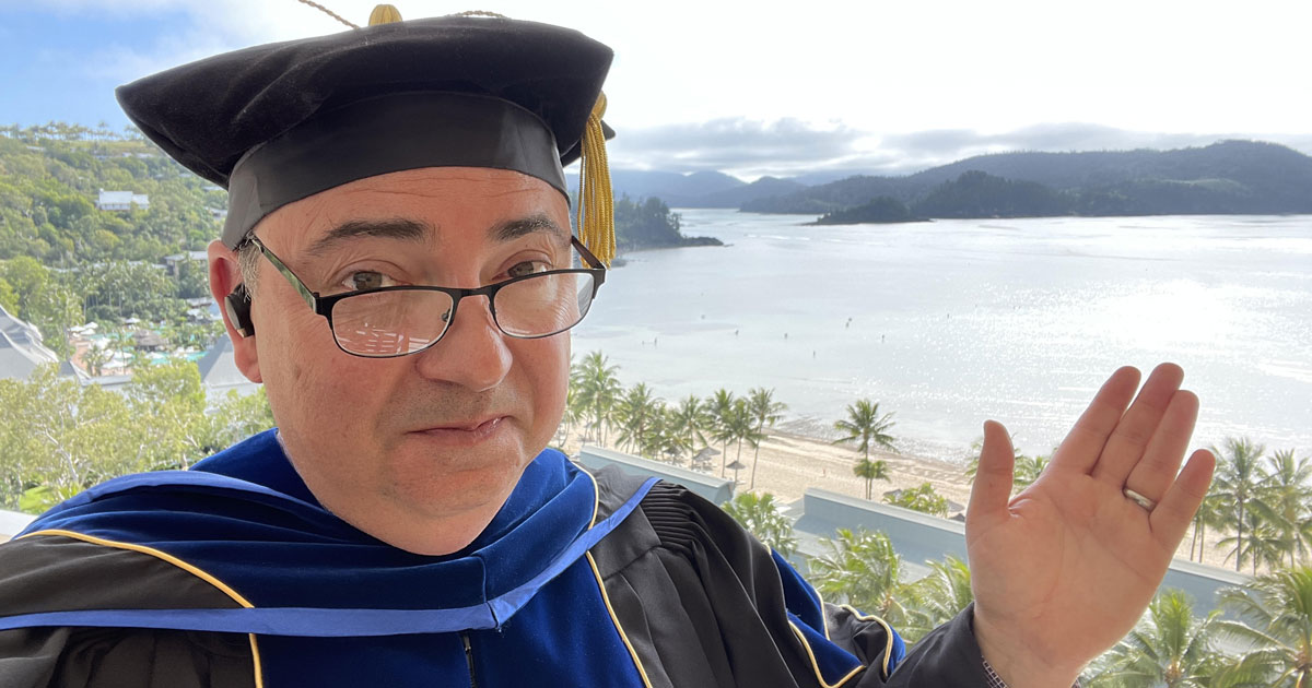 Professor Longsword on Hamilton Island for the Seeley International VIP Conference with Sir Frank Seeley